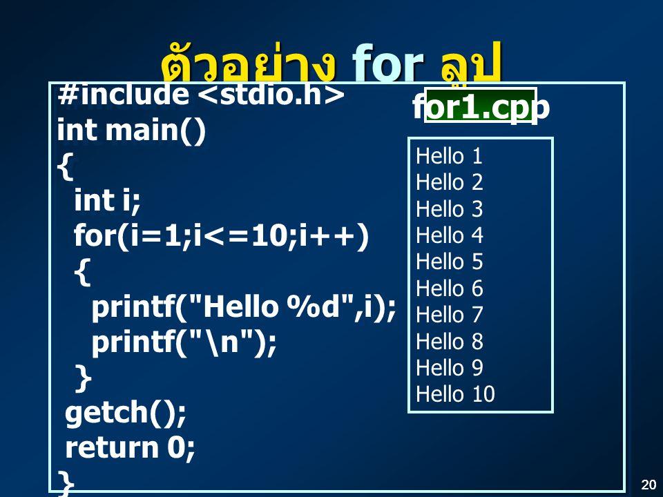 20 ตัวอย่าง for ลูป #include int main() { int i; for(i=1;i<=10;i++) { printf( Hello %d ,i); printf( \n ); } getch(); return 0; } #include int main() { int i; for(i=1;i<=10;i++) { printf( Hello %d ,i); printf( \n ); } getch(); return 0; } Hello 1 Hello 2 Hello 3 Hello 4 Hello 5 Hello 6 Hello 7 Hello 8 Hello 9 Hello 10 for1.cpp