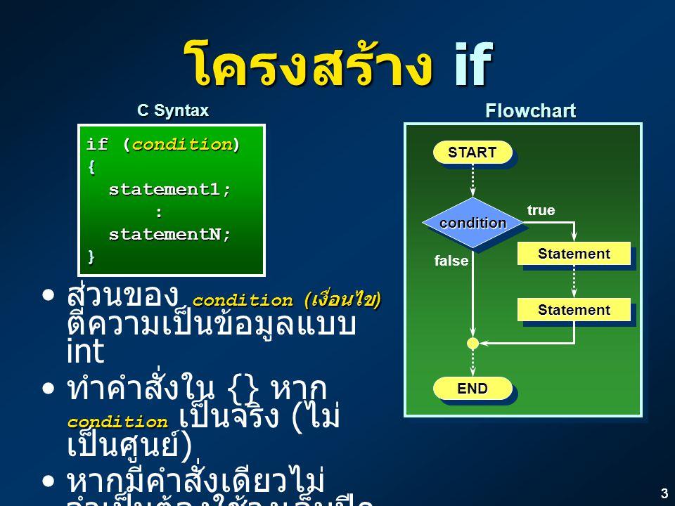 33 โครงสร้าง if if (condition) { statement1; statement1;: statementN; statementN;} if (condition) { statement1; statement1;: statementN; statementN;} C Syntax STARTSTART ENDEND StatementStatement conditioncondition true false StatementStatementFlowchart condition ( เงื่อนไข ) ส่วนของ condition ( เงื่อนไข ) ตีความเป็นข้อมูลแบบ int condition ทำคำสั่งใน {} หาก condition เป็นจริง ( ไม่ เป็นศูนย์ ) หากมีคำสั่งเดียวไม่ จำเป็นต้องใช้วงเล็บปีก กา