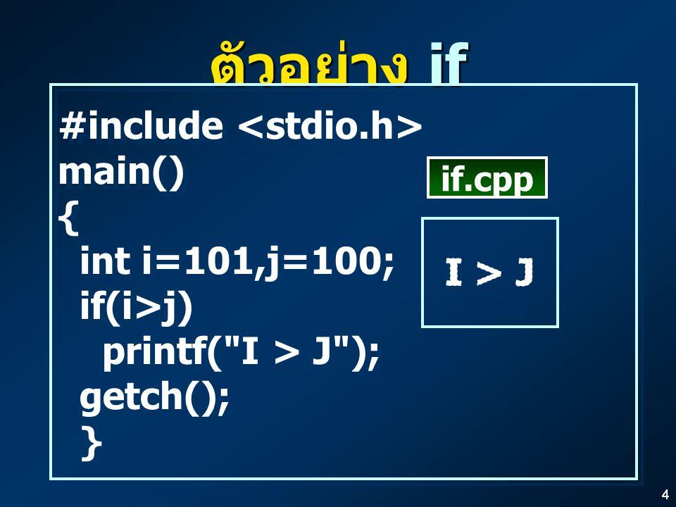 44 ตัวอย่าง if #include main() { int i=101,j=100; if(i>j) printf( I > J ); getch(); } #include main() { int i=101,j=100; if(i>j) printf( I > J ); getch(); } if.cpp