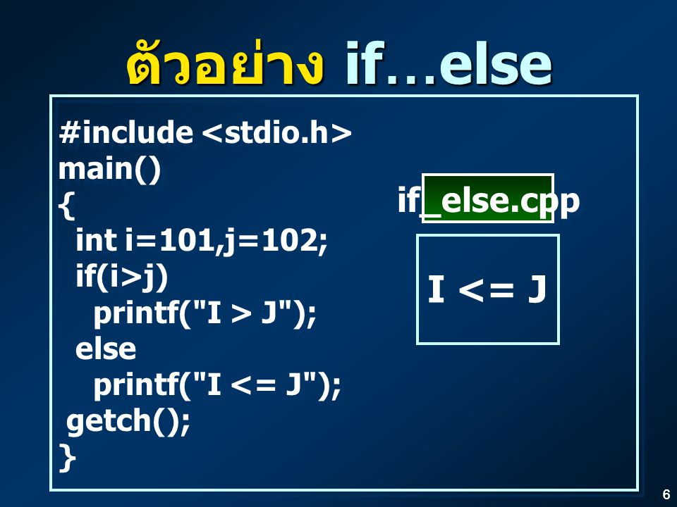 66 ตัวอย่าง if…else #include main() { int i=101,j=102; if(i>j) printf( I > J ); else printf( I <= J ); getch(); } #include main() { int i=101,j=102; if(i>j) printf( I > J ); else printf( I <= J ); getch(); } I <= J if_else.cpp