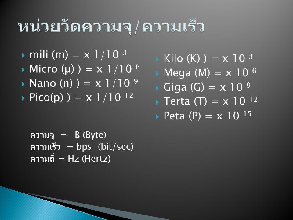  mili (m) = x 1/10 3  Micro (µ) ) = x 1/10 6  Nano (n) ) = x 1/10 9  Pico(p) ) = x 1/10 12 ความจุ = B (Byte) ความเร็ว = bps (bit/sec) ความถี่ = Hz (Hertz)  Kilo (K) ) = x 10 3  Mega (M) = x 10 6  Giga (G) = x 10 9  Terta (T) = x 10 12  Peta (P) = x 10 15