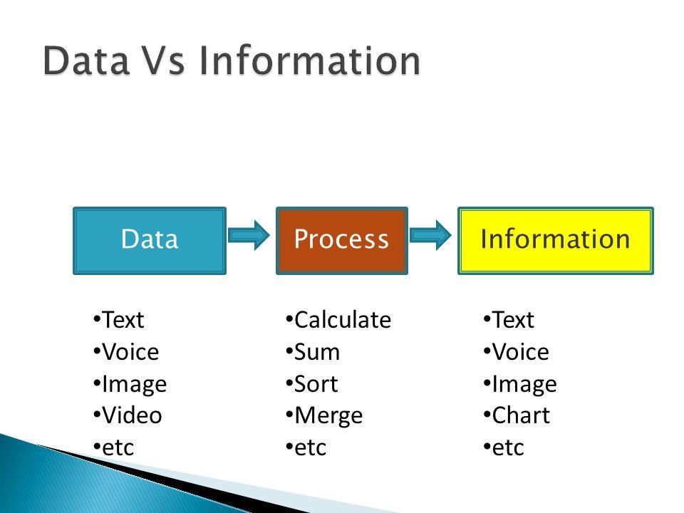 DataProcessInformation Text Voice Image Video etc Calculate Sum Sort Merge etc Text Voice Image Chart etc