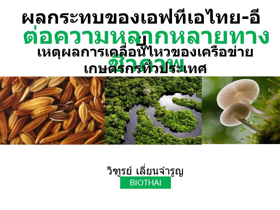 ผลกระทบของเอฟทีเอไทย - อี ยู วิฑูรย์ เลี่ยนจำรูญ BIOTHAI ต่อความหลากหลายทาง ชีวภาพ เหตุผลการเคลื่อนไหวของเครือข่าย เกษตรกรทั่วประเทศ