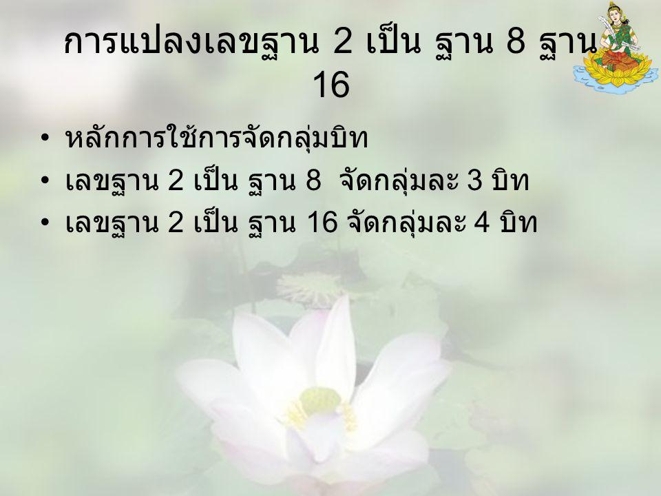 การแปลงเลขฐาน 2 เป็น ฐาน 8 ฐาน 16 หลักการใช้การจัดกลุ่มบิท เลขฐาน 2 เป็น ฐาน 8 จัดกลุ่มละ 3 บิท เลขฐาน 2 เป็น ฐาน 16 จัดกลุ่มละ 4 บิท