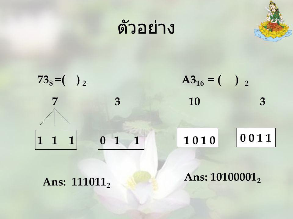 ตัวอย่าง 73 8 =( ) 2 7 3 1 1 1 0 1 1 A3 16 = ( ) 2 10 3 1 0 0 0 1 1 Ans: 111011 2 Ans: 10100001 2