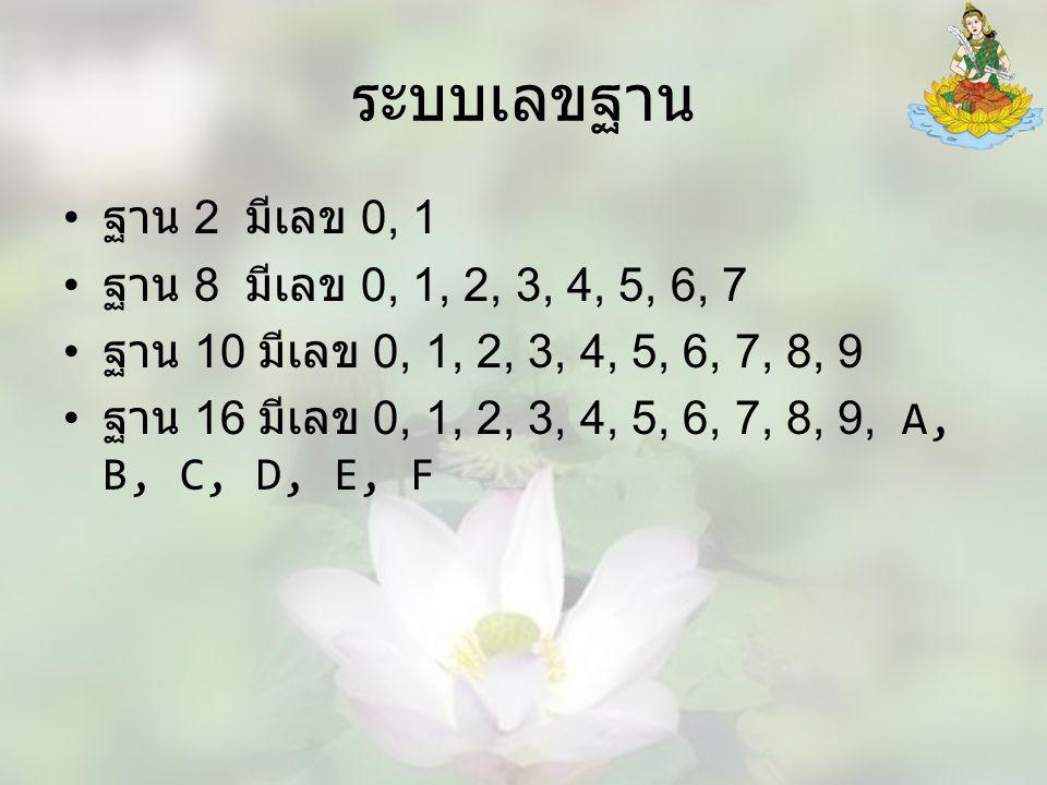 ระบบเลขฐาน ฐาน 2 มีเลข 0, 1 ฐาน 8 มีเลข 0, 1, 2, 3, 4, 5, 6, 7 ฐาน 10 มีเลข 0, 1, 2, 3, 4, 5, 6, 7, 8, 9 ฐาน 16 มีเลข 0, 1, 2, 3, 4, 5, 6, 7, 8, 9, A, B, C, D, E, F