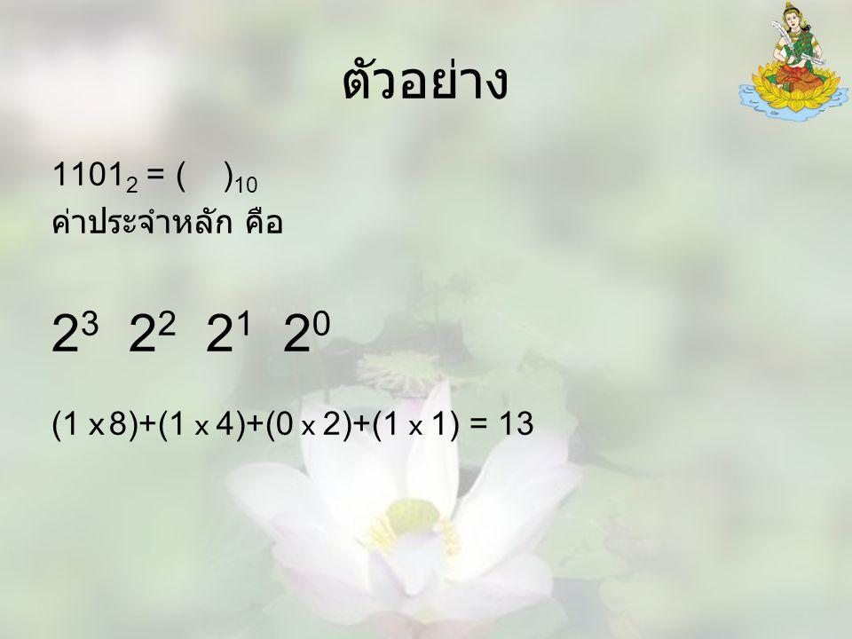 ตัวอย่าง 1101 2 = ( ) 10 ค่าประจำหลัก คือ 2 3 2 2 2 1 2 0 (1 x 8)+(1 x 4)+(0 x 2)+(1 x 1) = 13