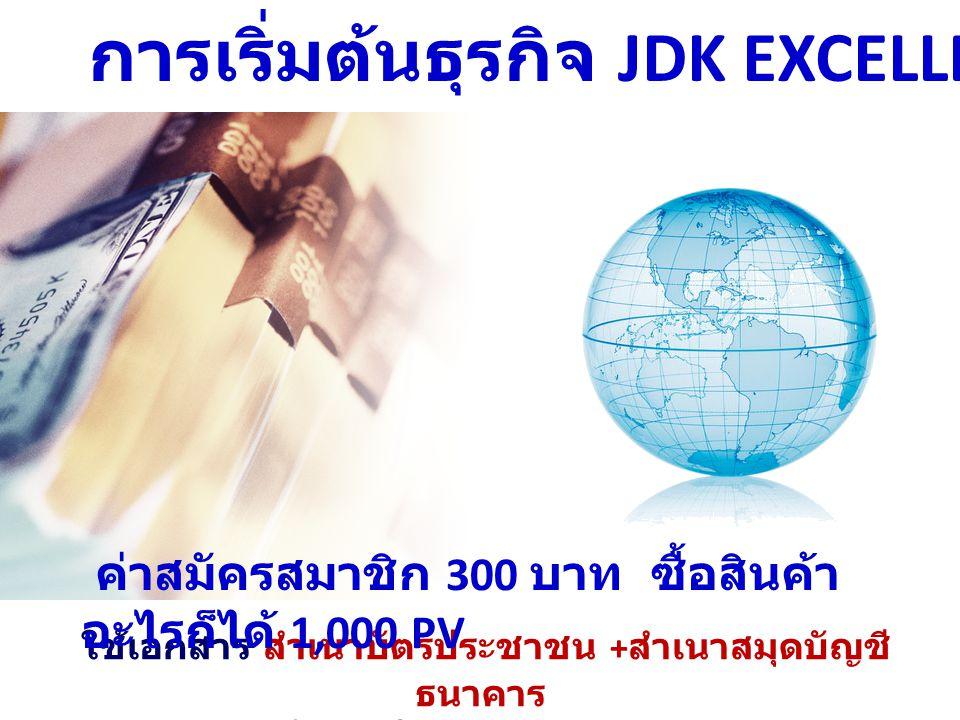 การเริ่มต้นธุรกิจ JDK EXCELLENT ใช้เอกสาร สำเนาบัตรประชาชน + สำเนาสมุดบัญชี ธนาคาร ส่งภายใน 7 วัน หลังสมัคร ค่าสมัครสมาชิก 300 บาท ซื้อสินค้า อะไรก็ได้ 1,000 PV
