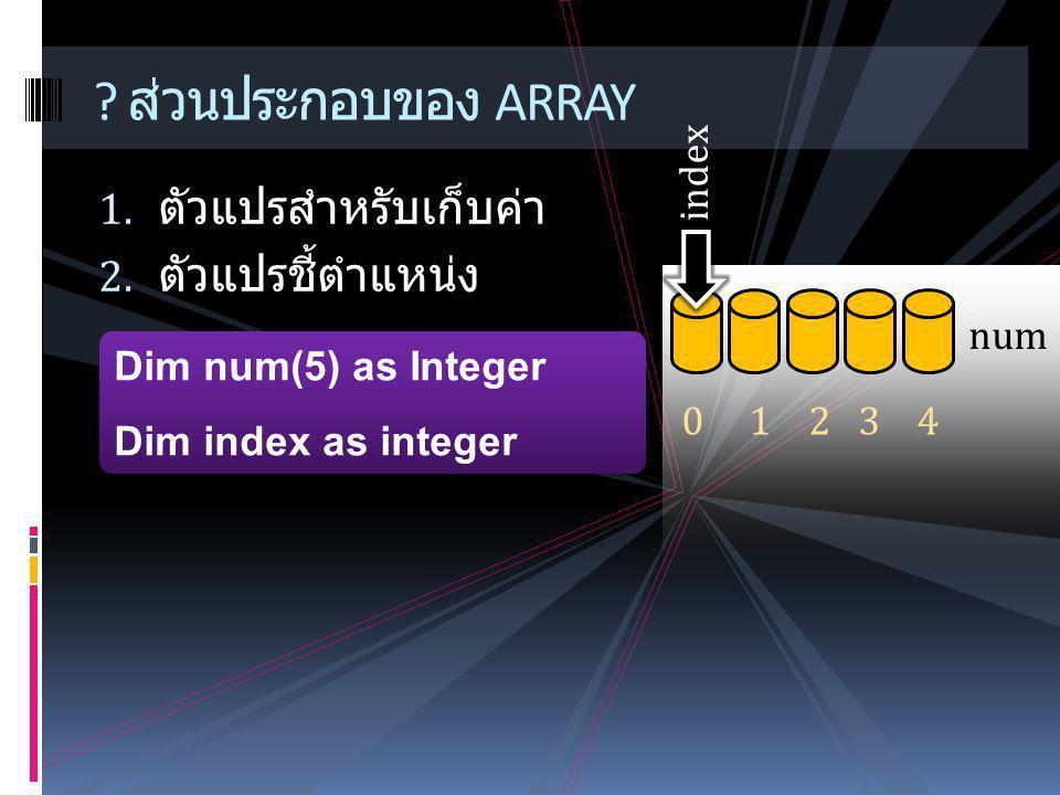 1. ตัวแปรสำหรับเก็บค่า 2. ตัวแปรชี้ตำแหน่ง ? ส่วนประกอบของ ARRAY Dim num(5) as Integer Dim index as integer num 0 1 2 3 4 index