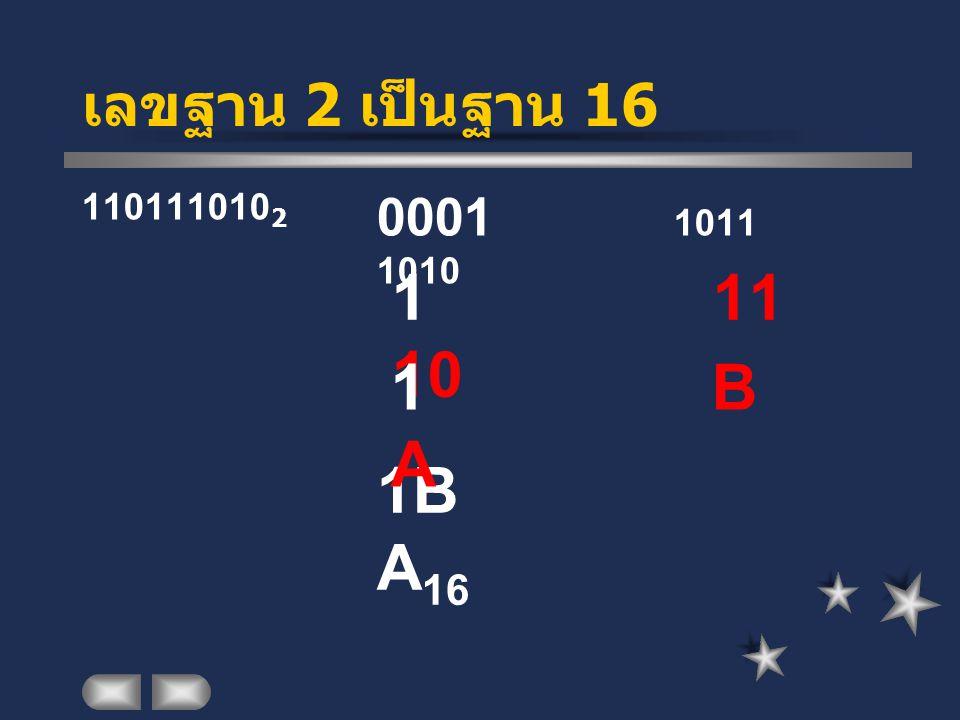 เลขฐาน 2 เป็นฐาน 16 110111010 2 0001 1011 1010 1 11 10 1B A 16 1 B A