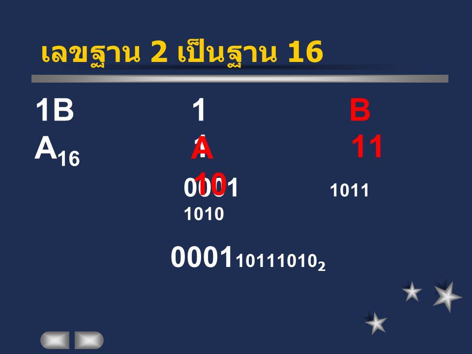 เลขฐาน 2 เป็นฐาน 16 0001 10111010 2 0001 1011 1010 1 11 10 1 B A 1B A 16