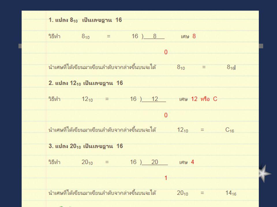 ตัวอย่างการ แปลงเลขฐาน 10 เป็น ฐาน 16