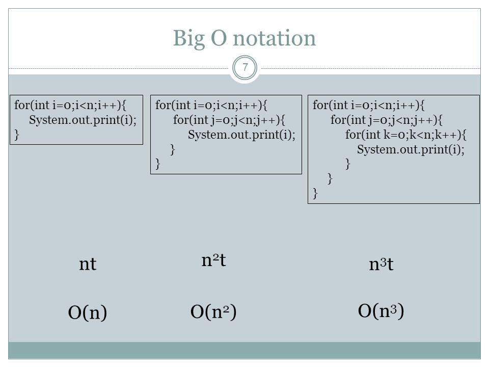 Big O notation 7 for(int i=0;i<n;i++){ System.out.print(i); } nt for(int i=0;i<n;i++){ for(int j=0;j<n;j++){ System.out.print(i); } n3tn3t for(int i=0;i<n;i++){ for(int j=0;j<n;j++){ for(int k=0;k<n;k++){ System.out.print(i); } n2tn2t O(n) O(n 2 ) O(n 3 )