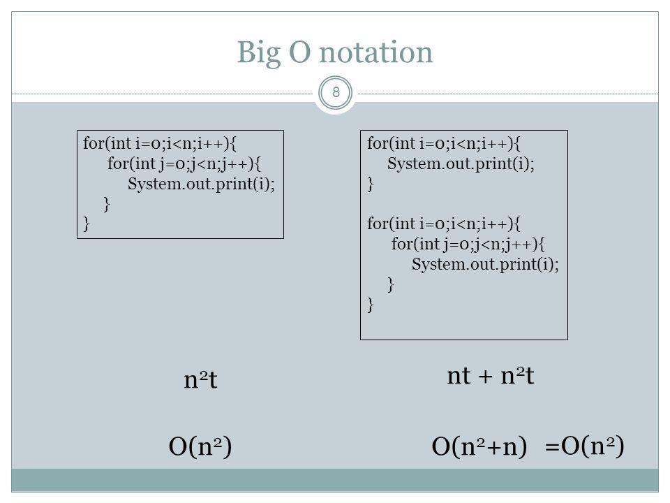 Big O notation 9 for(int i=0;i<n1;i++){ for(int j=0;j<n2;j++){ System.out.print(i); } O(n 2 ) โดยสมมติให้ n1 และ n2 เป็นค่าจำนวนเต็มที่มีขนาดใหญ่ จึงประมาณค่า n1 n2 มีค่าเท่ากับ n ซึ่งเป็นจำนวนเต็มขนาดใหญ่เช่นกัน