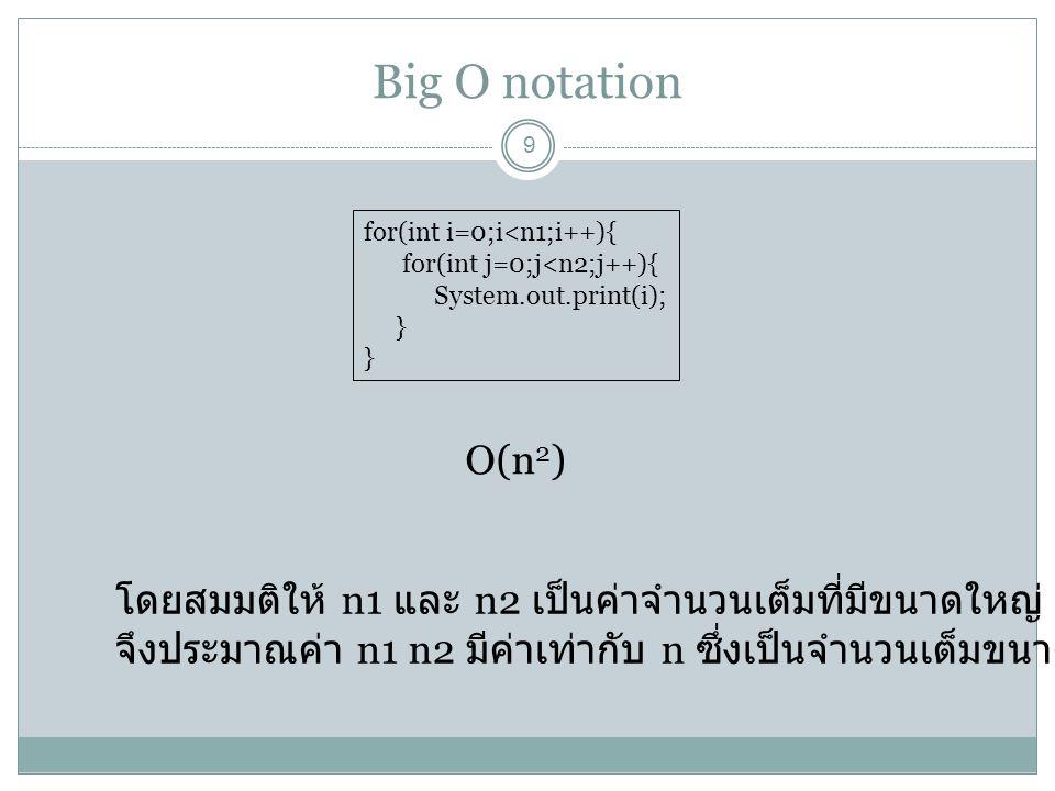 Big O notation 10 for(int i=0;i<n1;i++){ for(int j=0;j<n2;j++){ System.out.print(i); } for(int j=0;j<n2;j++){ System.out.print(i); } O(2n 2 ) for(int i=0;i<n1;i++){ for(int j=0;j<n2;j++){ System.out.print(i); System.out.print(j); } O(2n 2 ) for(int i=0;i<n1;i++){ for(int j=0;j<n2;j++){ System.out.print(i); int k = i+j; } O(2n 2 )