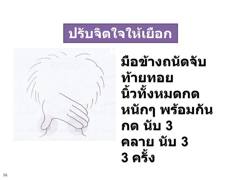 ปรับจิตใจให้เยือก เย็น มือข้างถนัดจับ ท้ายทอย นิ้วทั้งหมดกด หนักๆ พร้อมกัน กด นับ 3 คลาย นับ 3 3 ครั้ง มือข้างถนัดจับ ท้ายทอย นิ้วทั้งหมดกด หนักๆ พร้อ