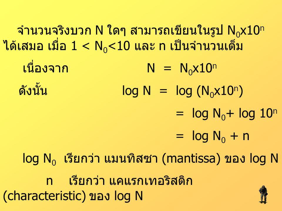จำนวนจริงบวก N ใดๆ สามารถเขียนในรูป N 0 x10 n ได้เสมอ เมื่อ 1 < N 0 <10 และ n เป็นจำนวนเต็ม เนื่องจาก N = N 0 x10 n ดังนั้น log N = log (N 0 x10 n ) =