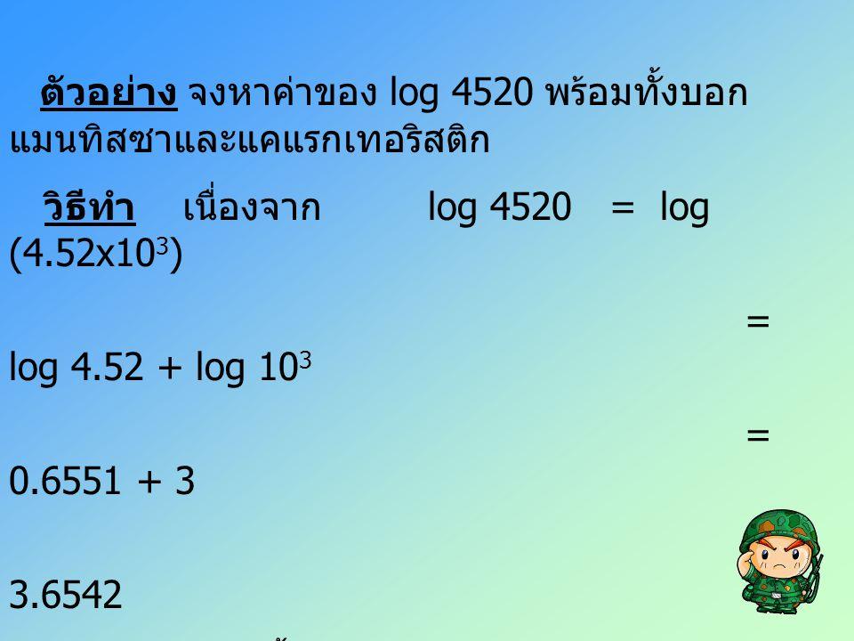 ตัวอย่าง จงหาค่าของ log 4520 พร้อมทั้งบอก แมนทิสซาและแคแรกเทอริสติก วิธีทำ เนื่องจาก log 4520 = log (4.52x10 3 ) = log 4.52 + log 10 3 = 0.6551 + 3 =