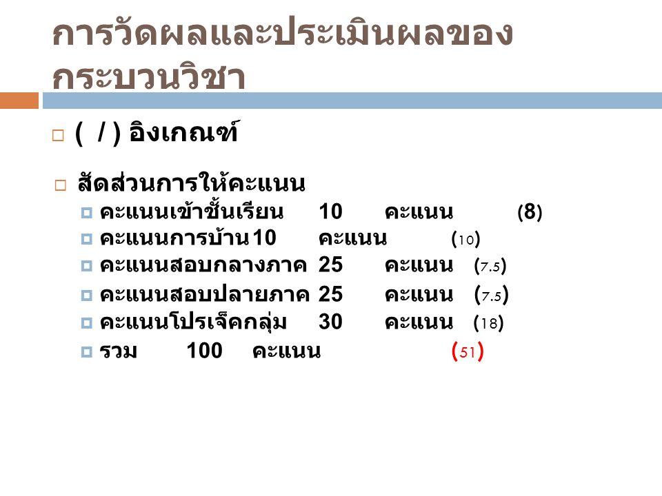 การวัดผลและประเมินผลของ กระบวนวิชา  ( / ) อิงเกณฑ์  สัดส่วนการให้คะแนน  คะแนนเข้าชั้นเรียน 10 คะแนน (8)  คะแนนการบ้าน 10 คะแนน ( 10 )  คะแนนสอบกลางภาค 25 คะแนน ( 7.5 )  คะแนนสอบปลายภาค 25 คะแนน ( 7.5 )  คะแนนโปรเจ็คกลุ่ม 30 คะแนน ( 18 )  รวม 100 คะแนน ( 51 )