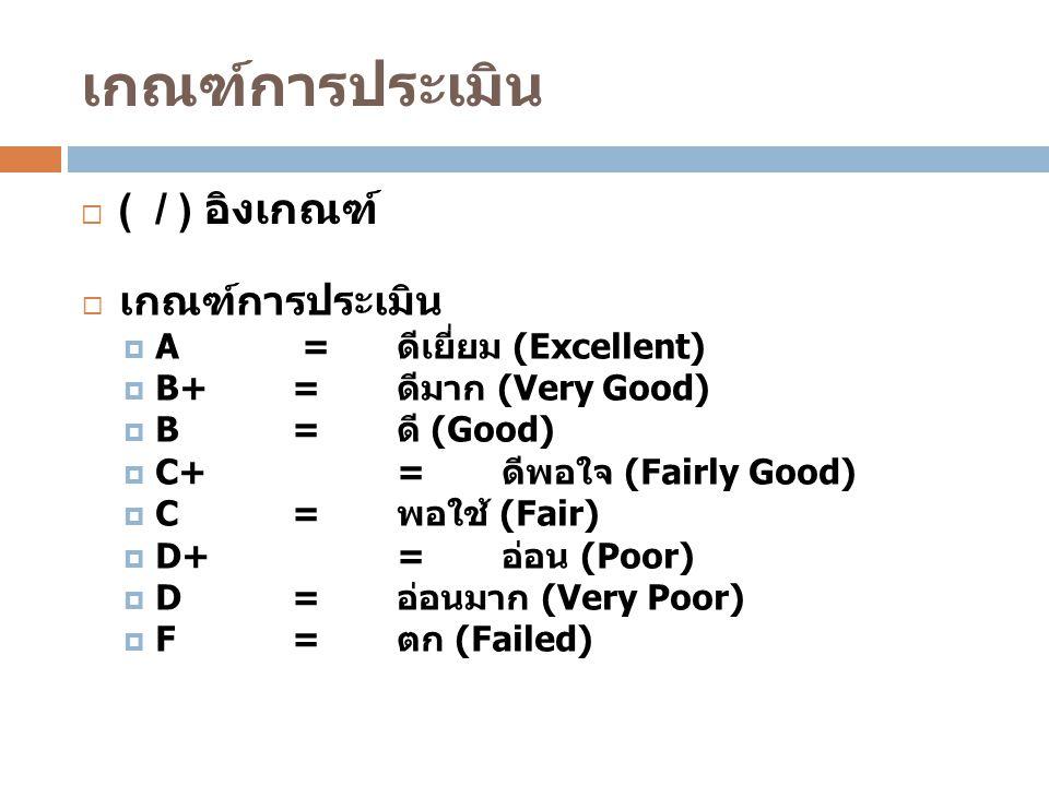 เกณฑ์การประเมิน  ( / ) อิงเกณฑ์  เกณฑ์การประเมิน  A = ดีเยี่ยม (Excellent)  B+ = ดีมาก (Very Good)  B= ดี (Good)  C+= ดีพอใจ (Fairly Good)  C= พอใช้ (Fair)  D+= อ่อน (Poor)  D= อ่อนมาก (Very Poor)  F= ตก (Failed)