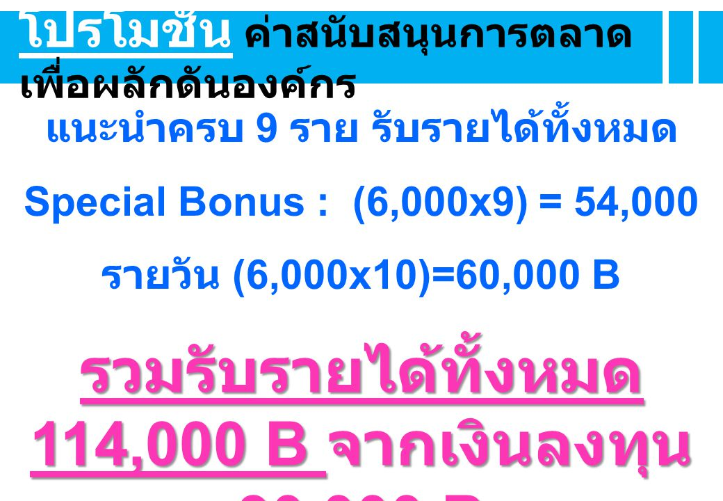 โปรโมชั่น ค่าสนับสนุนการตลาด เพื่อผลักดันองค์กร แนะนำครบ 9 ราย รับรายได้ทั้งหมด Special Bonus : (6,000x9) = 54,000 รายวัน (6,000x10)=60,000 B รวมรับรายได้ทั้งหมด 114,000 B จากเงินลงทุน 30,000 B