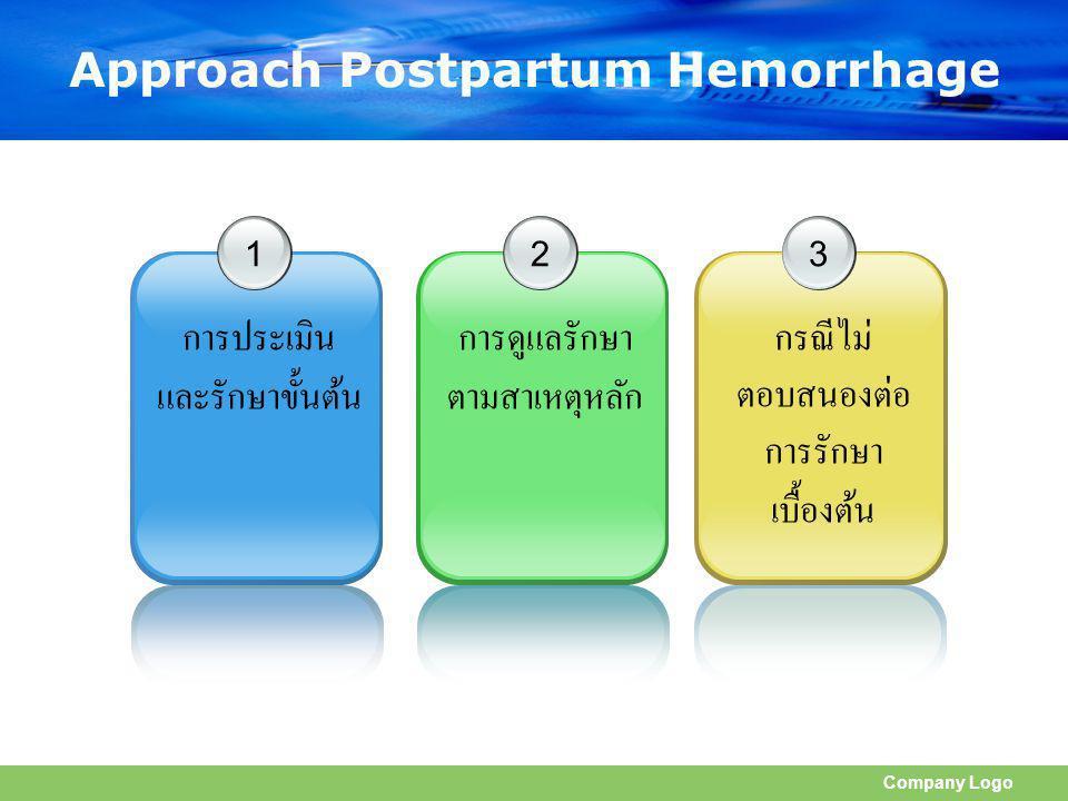 Company Logo Approach Postpartum Hemorrhage 1 การประเมิน และรักษาขั้นต้น 2 การดูแลรักษา ตามสาเหตุหลัก 3 กรณีไม่ ตอบสนองต่อ การรักษา เบื้องต้น