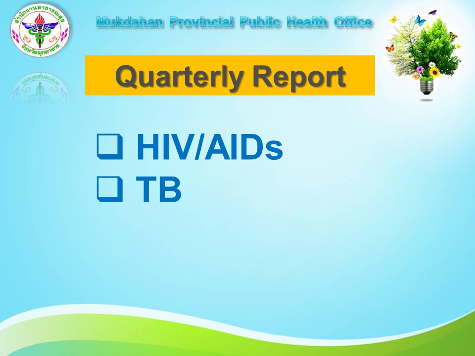 Quarterly Report  HIV/AIDs  TB
