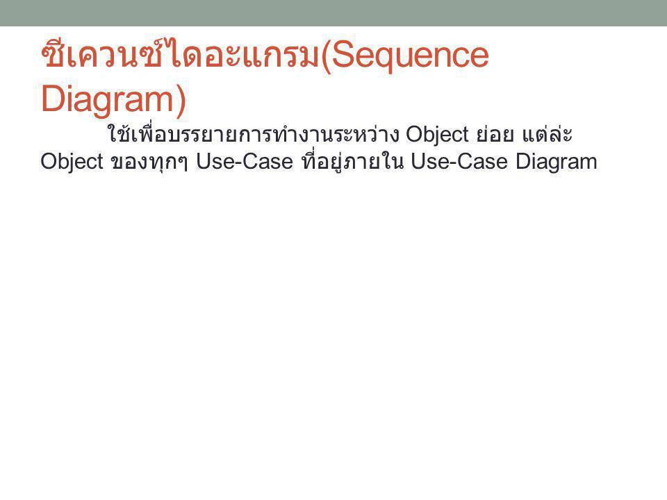 ซีเควนซ์ไดอะแกรม (Sequence Diagram) ใช้เพื่อบรรยายการทำงานระหว่าง Object ย่อย แต่ล่ะ Object ของทุกๆ Use-Case ที่อยู่ภายใน Use-Case Diagram