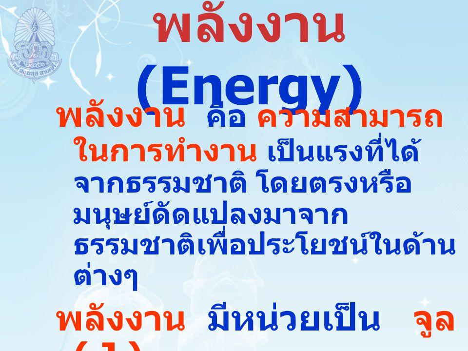 พลังงาน (Energy) พลังงาน คือ ความสามารถ ในการทำงาน เป็นแรงที่ได้ จากธรรมชาติ โดยตรงหรือ มนุษย์ดัดแปลงมาจาก ธรรมชาติเพื่อประโยชน์ในด้าน ต่างๆ พลังงาน ม