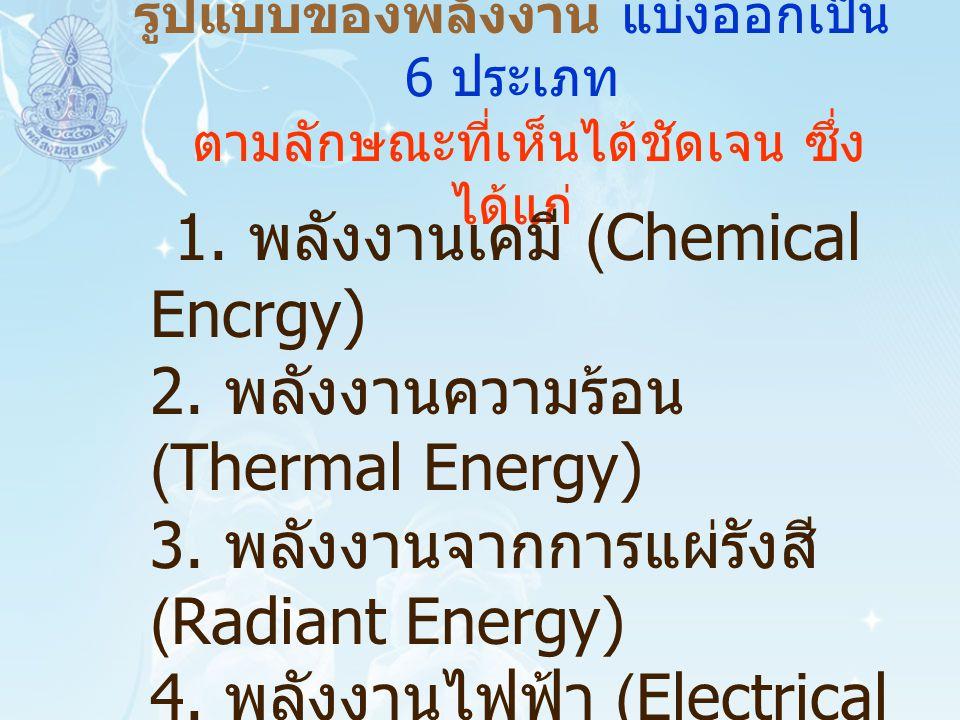 รูปแบบของพลังงาน แบ่งออกเป็น 6 ประเภท ตามลักษณะที่เห็นได้ชัดเจน ซึ่ง ได้แก่ 1. พลังงานเคมี (Chemical Encrgy) 2. พลังงานความร้อน (Thermal Energy) 3. พล