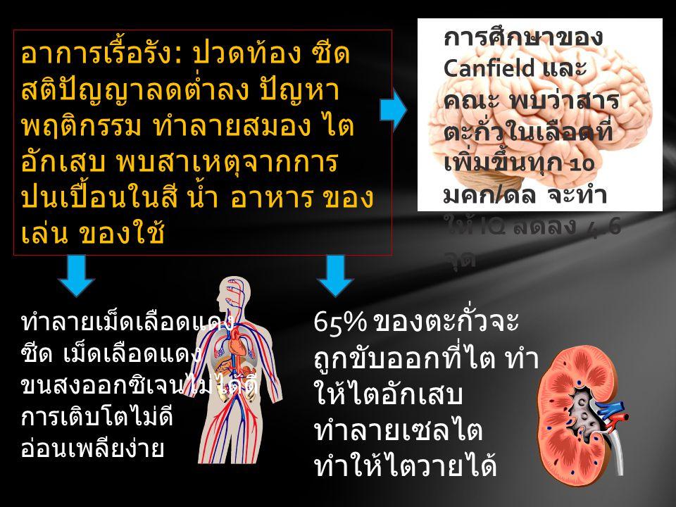อาการเรื้อรัง: ปวดท้อง ซีด สติปัญญาลดต่ำลง ปัญหา พฤติกรรม ทำลายสมอง ไต อักเสบ พบสาเหตุจากการ ปนเปื้อนในสี น้ำ อาหาร ของ เล่น ของใช้ 65% ของตะกั่วจะ ถู