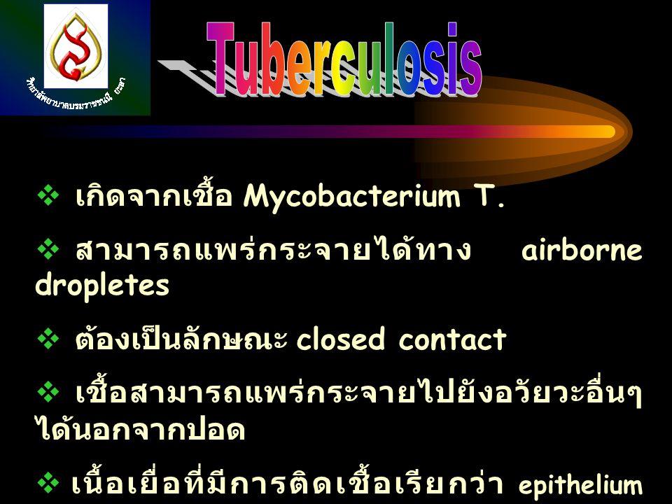  เกิดจากเชื้อ Mycobacterium T.  สามารถแพร่กระจายได้ทาง airborne dropletes  ต้องเป็นลักษณะ closed contact  เชื้อสามารถแพร่กระจายไปยังอวัยวะอื่นๆ ได