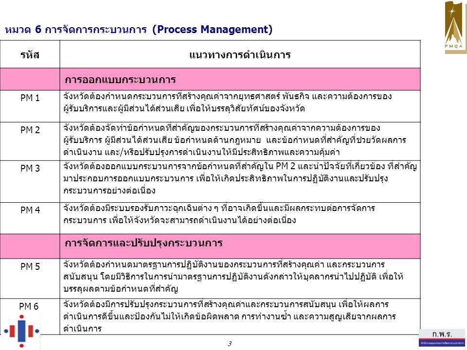 หมวด 6 การจัดการกระบวนการ (Process Management) รหัสแนวทางการดำเนินการ การออกแบบกระบวนการ PM 1 จังหวัดต้องกำหนดกระบวนการที่สร้างคุณค่าจากยุทธศาสตร์ พันธกิจ และความต้องการของ ผู้รับบริการและผู้มีส่วนได้ส่วนเสีย เพื่อให้บรรลุวิสัยทัศน์ของจังหวัด PM 2 จังหวัดต้องจัดทำข้อกำหนดที่สำคัญของกระบวนการที่สร้างคุณค่าจากความต้องการของ ผู้รับบริการ ผู้มีส่วนได้ส่วนเสีย ข้อกำหนดด้านกฎหมาย และข้อกำหนดที่สำคัญที่ช่วยวัดผลการ ดำเนินงาน และ/หรือปรับปรุงการดำเนินงานให้มีประสิทธิภาพและความคุ้มค่า PM 3 จังหวัดต้องออกแบบกระบวนการจากข้อกำหนดที่สำคัญใน PM 2 และนำปัจจัยที่เกี่ยวข้อง ที่สำคัญ มาประกอบการออกแบบกระบวนการ เพื่อให้เกิดประสิทธิภาพในการปฏิบัติงานและปรับปรุง กระบวนการอย่างต่อเนื่อง PM 4 จังหวัดต้องมีระบบรองรับภาวะฉุกเฉินต่าง ๆ ที่อาจเกิดขึ้นและมีผลกระทบต่อการจัดการ กระบวนการ เพื่อให้จังหวัดจะสามารถดำเนินงานได้อย่างต่อเนื่อง การจัดการและปรับปรุงกระบวนการ PM 5 จังหวัดต้องกำหนดมาตรฐานการปฏิบัติงานของกระบวนการที่สร้างคุณค่า และกระบวนการ สนับสนุน โดยมีวิธีการในการนำมาตรฐานการปฏิบัติงานดังกล่าวให้บุคลากรนำไปปฏิบัติ เพื่อให้ บรรลุผลตามข้อกำหนดที่สำคัญ PM 6 จังหวัดต้องมีการปรับปรุงกระบวนการที่สร้างคุณค่าและกระบวนการสนับสนุน เพื่อให้ผลการ ดำเนินการดีขึ้นและป้องกันไม่ให้เกิดข้อผิดพลาด การทำงานซ้ำ และความสูญเสียจากผลการ ดำเนินการ 3
