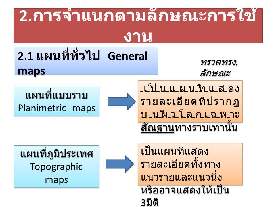 แผนที่แบบ ราบ Planimetric maps แผนที่แบบ ราบ Planimetric maps แผนที่ภูมิประเทศ Topographic maps