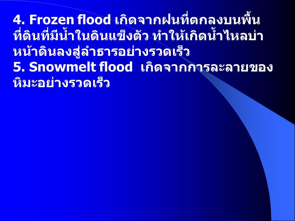 4. Frozen flood เกิดจากฝนที่ตกลงบนพื้น ที่ดินที่มีน้ำในดินแข็งตัว ทำให้เกิดน้ำไหลบ่า หน้าดินลงสู่ลำธารอย่างรวดเร็ว 5. Snowmelt flood เกิดจากการละลายขอ