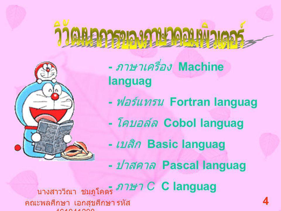 - ภาษาเครื่อง Machine languag - ฟอร์แทรน Fortran languag - โคบอล์ล Cobol languag - เบสิก Basic languag - ปาสคาล Pascal languag - ภาษา C C languag นางสาววีณา ชมภูโคตร คณะพลศึกษา เอกสุขศึกษา รหัส 461041208 4