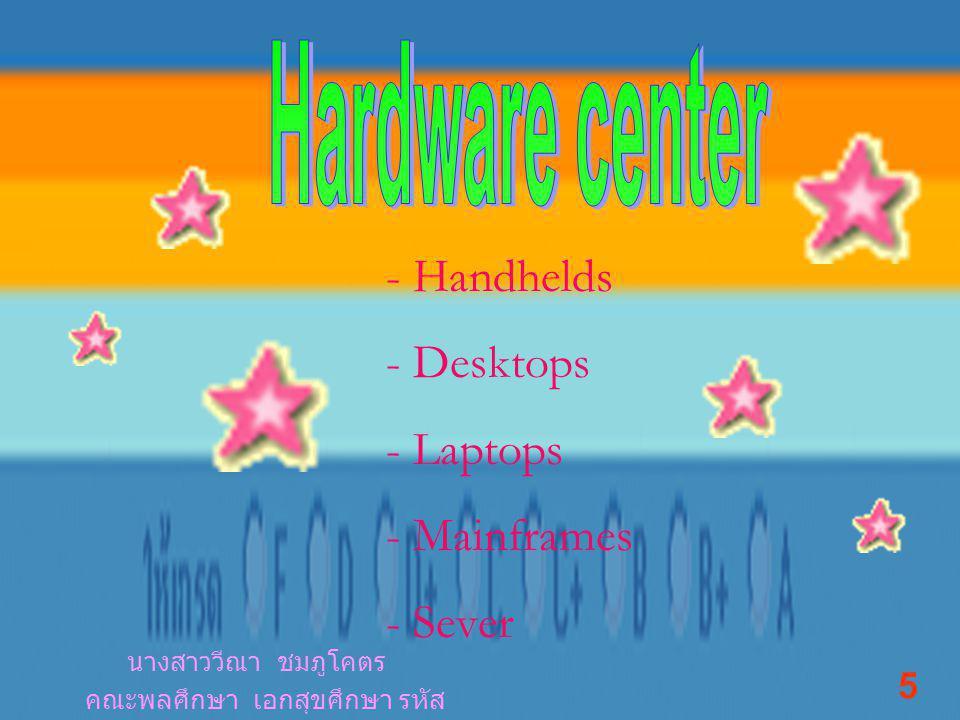 - Handhelds - Desktops - Laptops - Mainframes - Sever นางสาววีณา ชมภูโคตร คณะพลศึกษา เอกสุขศึกษา รหัส 461041208 5