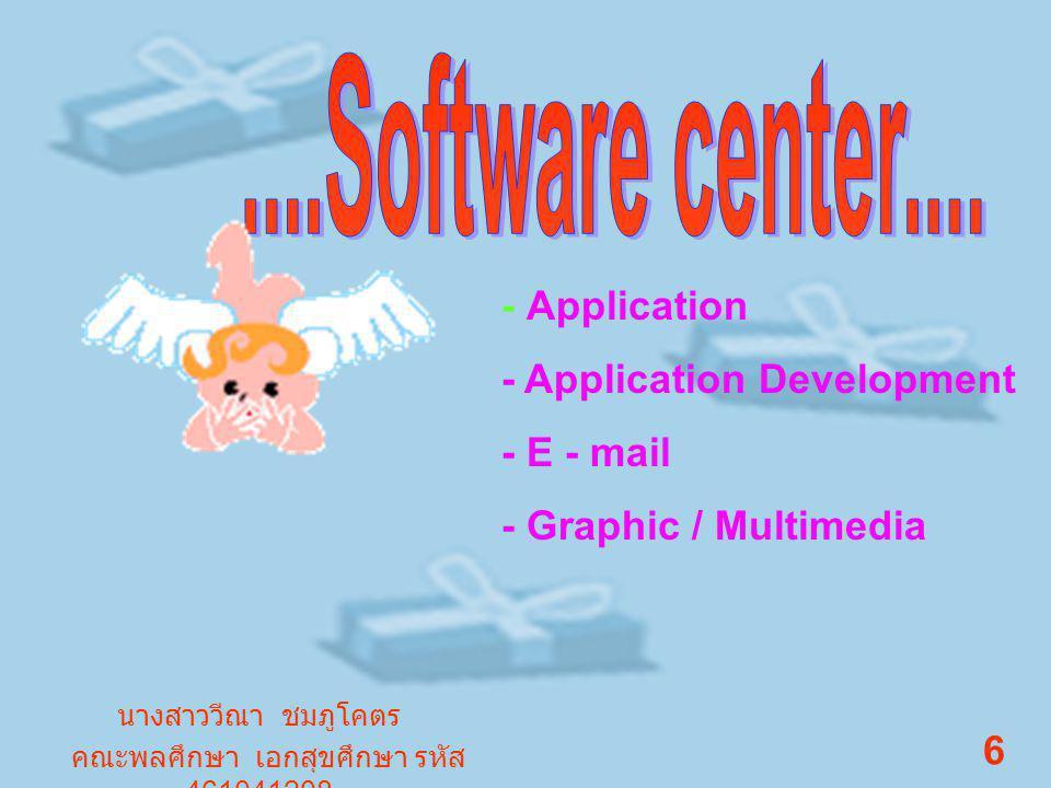 - Application - Application Development - E - mail - Graphic / Multimedia นางสาววีณา ชมภูโคตร คณะพลศึกษา เอกสุขศึกษา รหัส 461041208 6