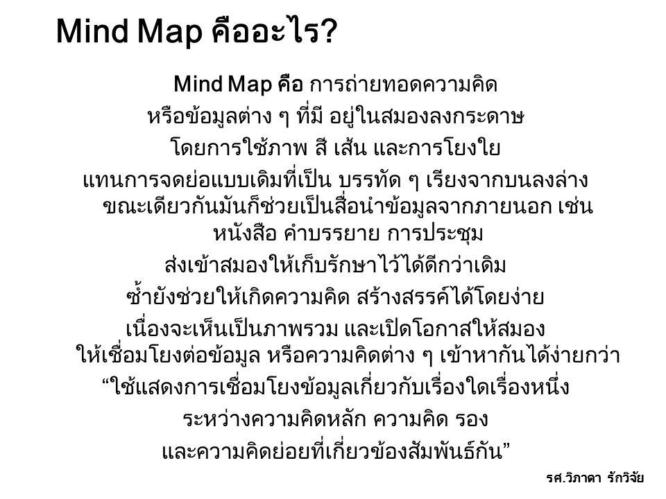 Mind Map คืออะไร? Mind Map คือ การถ่ายทอดความคิด หรือข้อมูลต่าง ๆ ที่มี อยู่ในสมองลงกระดาษ โดยการใช้ภาพ สี เส้น และการโยงใย แทนการจดย่อแบบเดิมที่เป็น