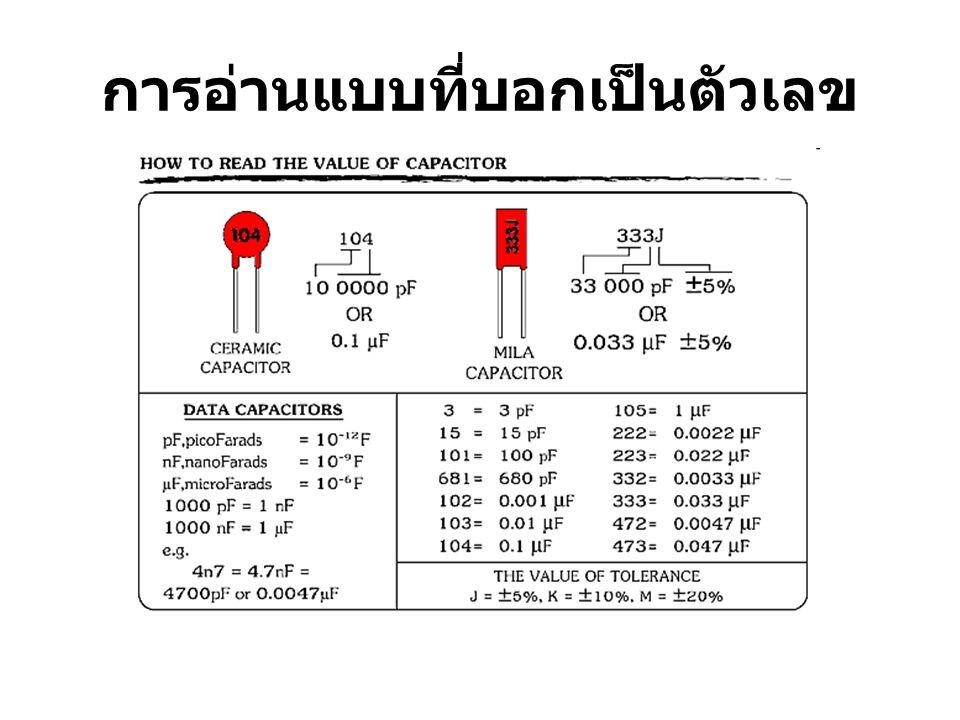 การอ่านแบบที่บอกเป็นแถบสี การอ่านแบบที่บอกเป็นแถบสี หลักอ่านจะ คล้ายกับตัวต้านทาน การอ่านค่าสีตัวคาปาซิเตอร์ เหลือง จะเป็นตัวตั้งหลักที่หนึ่ง มีค่า 4 ม่วง จะเป็นตัวตั้งหลักที่สอง มีค่า 7 เหลือง จะเป็นตัวคูณ มีค่า x10000 ขาว จะเป็นเปอร์เซ็นต์ความผิดพลาด มีค่า 10 % แดง จะเป็นอัตราทนแรงดันไฟฟ้า มีค่า 200 V ดังนั้นสามารถอ่านได้ 470000 pF หรือ 0.47 uF