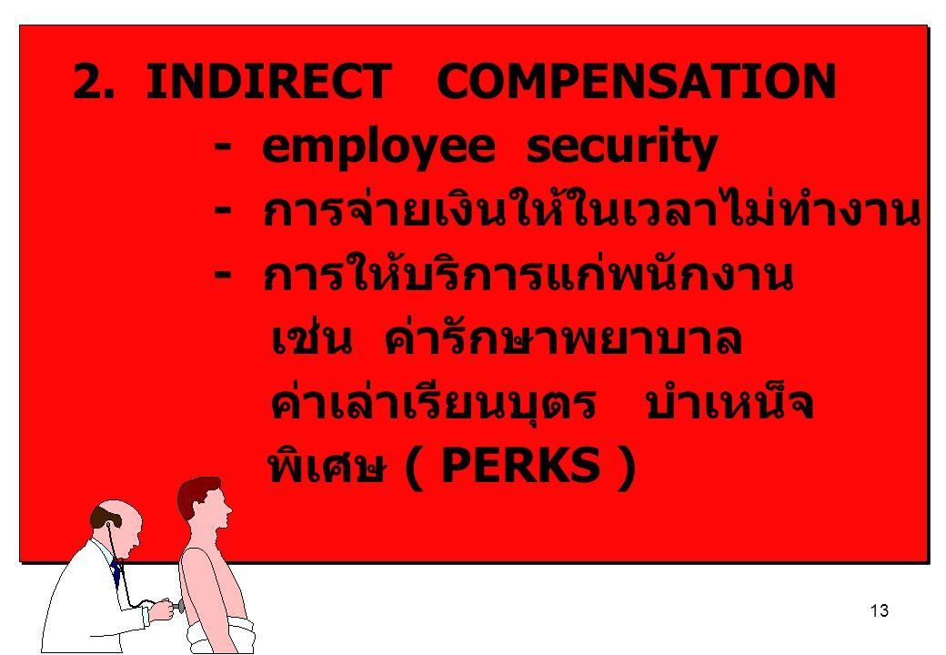 13 2. INDIRECT COMPENSATION - employee security - การจ่ายเงินให้ในเวลาไม่ทำงาน - การให้บริการแก่พนักงาน เช่น ค่ารักษาพยาบาล ค่าเล่าเรียนบุตร บำเหน็จ พ