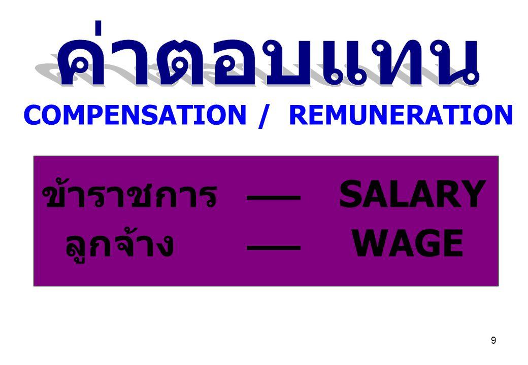 9 COMPENSATION / REMUNERATION ข้าราชการ SALARY ลูกจ้าง WAGE