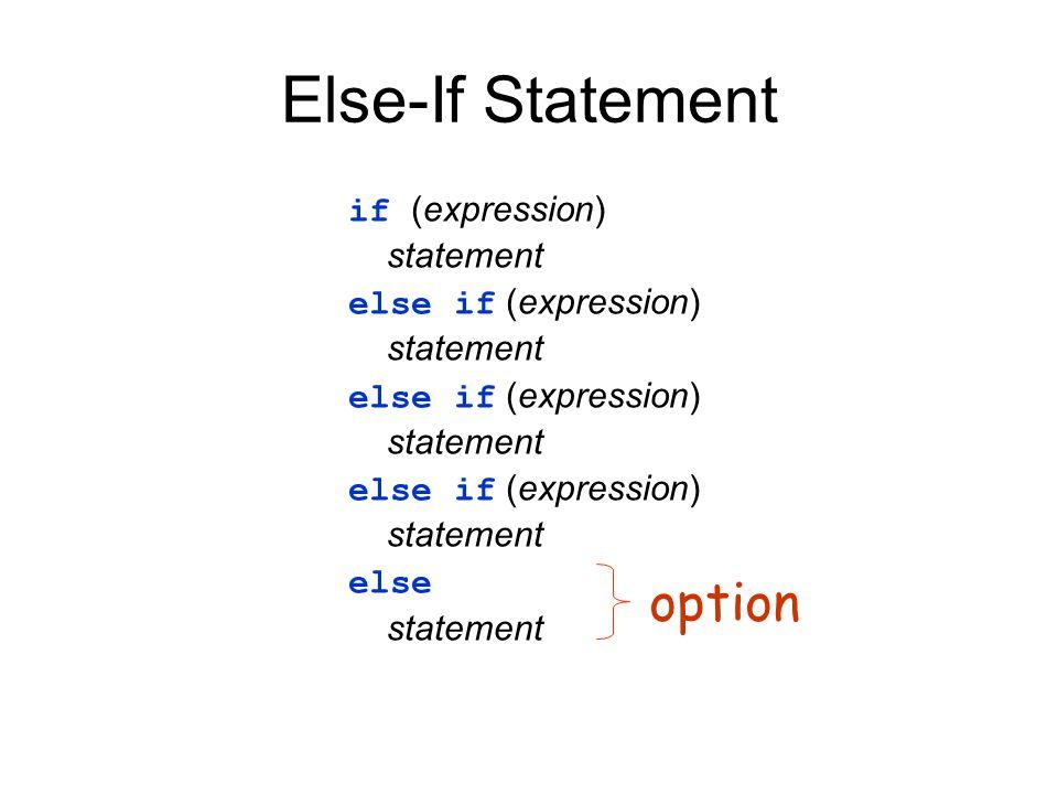 Else-If Statement if (expression) statement else if (expression) statement else if (expression) statement else if (expression) statement else statemen