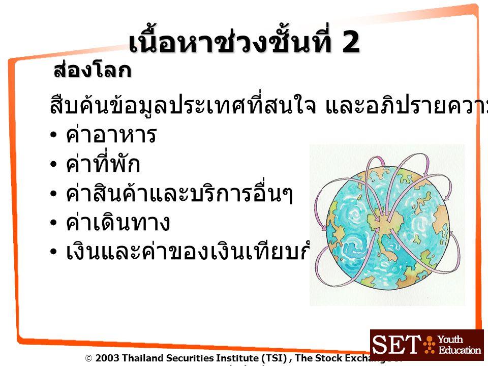  2003 Thailand Securities Institute (TSI), The Stock Exchange of Thailand เนื้อหาช่วงชั้นที่ 2 ส่องโลก สืบค้นข้อมูลประเทศที่สนใจ และอภิปรายความแตกต่าง ค่าอาหาร ค่าที่พัก ค่าสินค้าและบริการอื่นๆ ค่าเดินทาง เงินและค่าของเงินเทียบกับเงินไทย