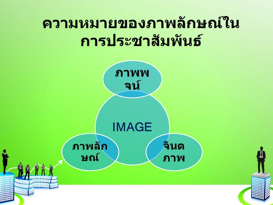 ความหมายของภาพลักษณ์ใน การประชาสัมพันธ์ IMAGE ภาพพ จน์ จินต ภาพ ภาพลัก ษณ์