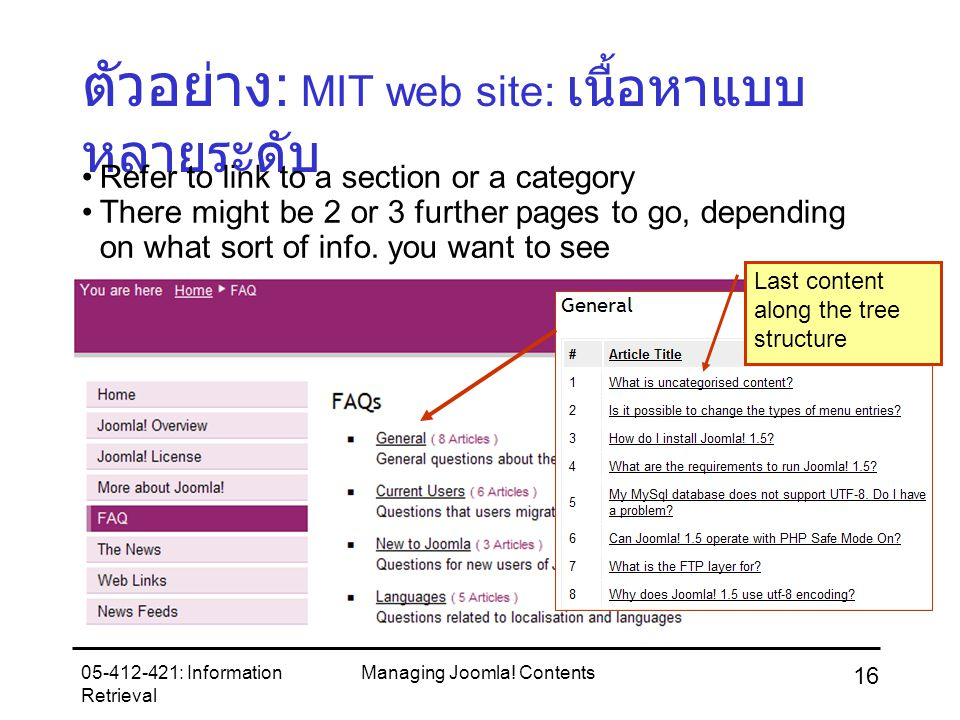 05-412-421: Information Retrieval Managing Joomla! Contents 16 ตัวอย่าง : MIT web site: เนื้อหาแบบ หลายระดับ Refer to link to a section or a category