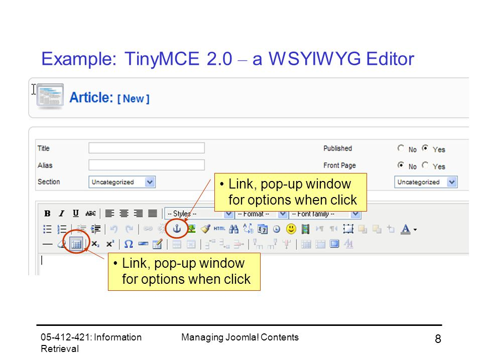 05-412-421: Information Retrieval Managing Joomla.