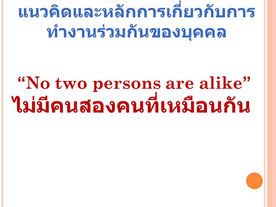 """แนวคิดและหลักการเกี่ยวกับการ ทำงานร่วมกันของบุคคล """"No two persons are alike"""" ไม่มีคนสองคนที่เหมือนกัน"""