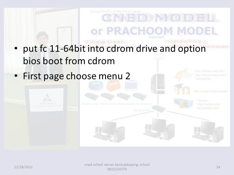 put fc 11-64bit into cdrom drive and option bios boot from cdrom First page choose menu 2 12/18/201214 cned school server banhubkapong school 0815134770
