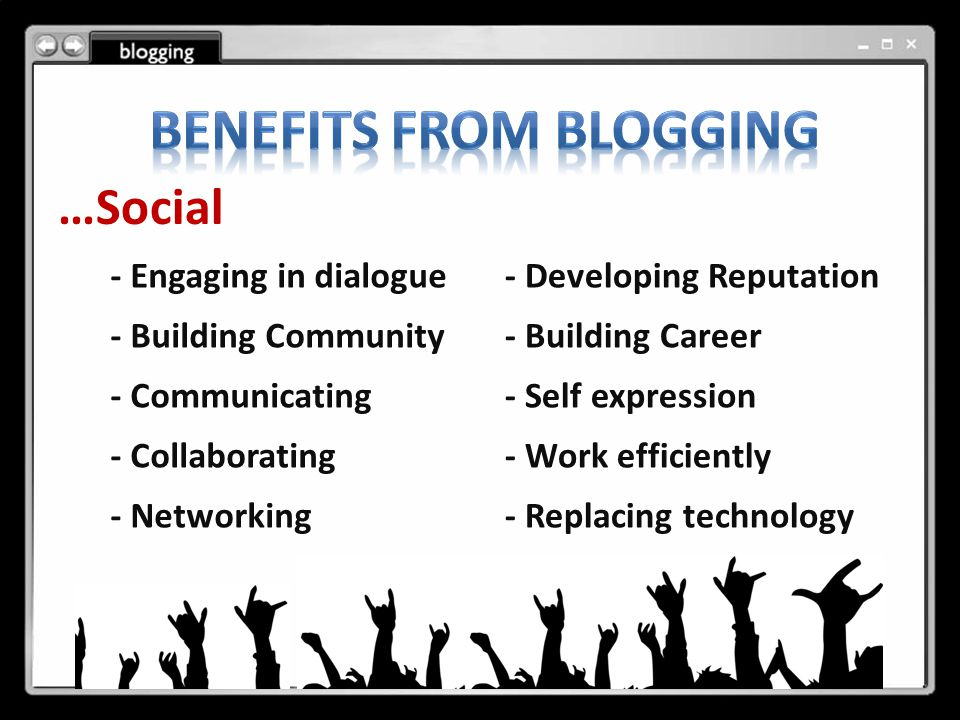 …Social - Engaging in dialogue - Building Community - Communicating - Collaborating - Networking - Developing Reputation - Building Career - Self expression - Work efficiently - Replacing technology